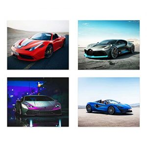 Insire Sports Car Poster Prints | Set of Four (10 inches x 8 inches) Super Car Prints | Lamborghini Aventador | Bugatti Divo | Ferrari 458 | Mclaren 570s | Wall Art Gift | Set 1