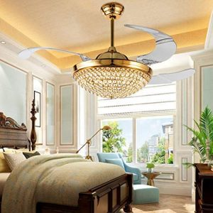 "A Million 42"" Crystal Ceiling Fan Light with Retractable Blades Remote Control LED Chandelier Fan 3 Speeds 3 Colors Changes Lighting Fixture, Silent Motor with LED Kits Included (Gold)"
