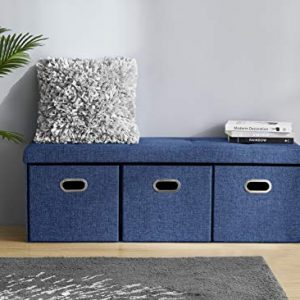 "Ornavo Home Foldable Tufted Linen Large Bench Storage Ottoman Foot Rest Stool/Seat with 3 Drawer Cubes - 15"" x 45"" x 15"" (Navy)"