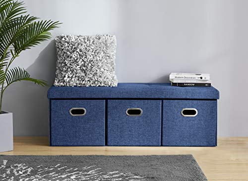 """Ornavo Home Foldable Tufted Linen Large Bench Storage Ottoman Foot Rest Stool/Seat with 3 Drawer Cubes - 15"""" x 45"""" x 15"""" (Navy)"""