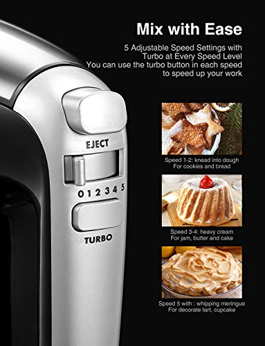 Mixer 2 in 1 Hand Mixer Electric 3.7 Quarts Stand Mixer with Rotating Bowl Guarantee: USA high quality and guarantee obligation - 30-day money-back assure, 2-year guarantee and lifelong help from us. In case you have any issues, simply contact our buyer help. 100% satisfaction assured.