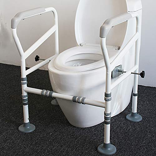 HePesTer Foldable&Free-Assembly Toilet Safety Frame for Elderly with Adjustable Height, 330 Ib Heavy Bathroom Toilet Safety Rail for Disable with Upgrade Large Non-Slip Mat, Fit All Toilets