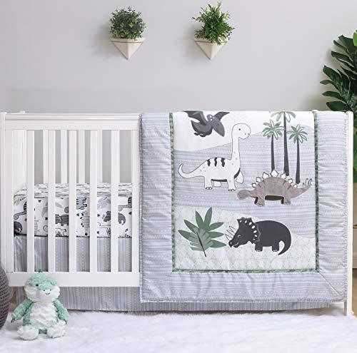 The Peanutshell Dinosaur Crib Bedding Sets for Boys | 3 Piece Nursery Set | Crib Comforter, Fitted Crib Sheet, Crib Skirt Included