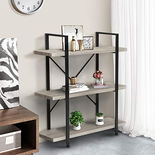 KINGSO 3-Tier Industrial Bookshelf, Rustic Wood Etagere Bookcase Open Storage Book Shelves with Metal Frame, Accent Furniture Shelving Unit for Home Office
