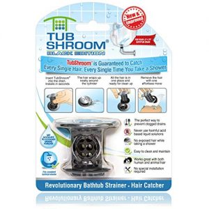 TubShroom Edition Revolutionary Tub Drain Protector Hair Catcher, Strainer, Snare, Black Chrome