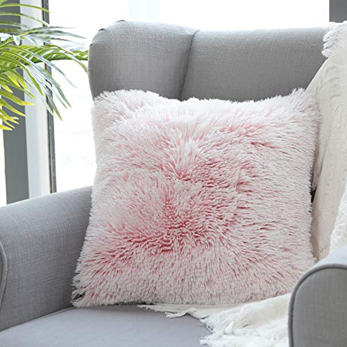 Uhomy 1 Pack Home Decorative Luxury Series Super Soft Style Artificial Fur Throw Pillow Case Cushion Cover for Sofa Bed Office Coffee Livingroom, Pink Ombre 20x20 Inch 50x50 cm