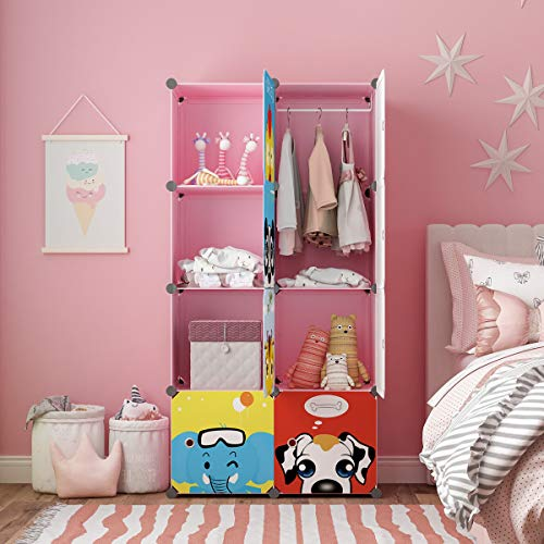 MAGINELS Children Wardrobe Kid Dresser Cute Baby Portable Closet Bedroom MAGINELS Children Wardrobe Kid Dresser Cute Baby Portable Closet Bedroom Armoire Clothes Hanging Storage Rack Cube Organizer, Large Pink 6 Cube & 1 Hanging Section.