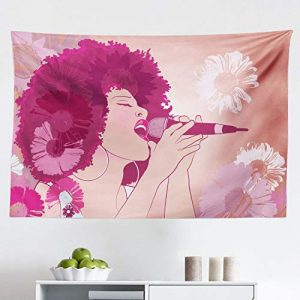 "Lunarable Music Tapestry, Afro Woman Singing Jazz Songs on Exotic Floral Background Performance Art, Fabric Wall Hanging Decor for Bedroom Living Room Dorm, 45"" X 30"", Magenta Peach"