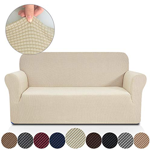 Rose Home Fashion Stretch Couch Covers for 3 Cushion Couch-Couch 1-Piece Covers for Sofa-Sofa Covers for Living Room,Couch Covers for Dogs, Sofa Slipcover,Couch slipcover(Sofa: Beige)