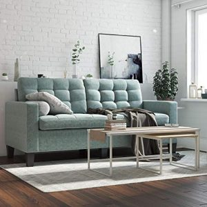 Dorel Living Emily Upholstered Sofa Couch Living Room Furniture, Teal