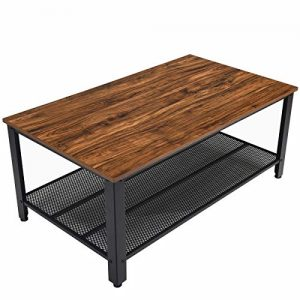 "Rustic Coffee Table with Storage Shelf,42"" Rectangle Sofa Tea Table for Living Room,Industrial Style Furniture with Strong Metal Frame for Home Office,Brown"