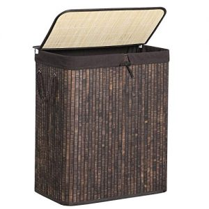 SONGMICS Bamboo Laundry Hamper with Lid, Two-Section Laundry Basket Sorter, 26 Gal (100L) with Liner and Handles, Rectangular, Rustic Brown ULCB64WN