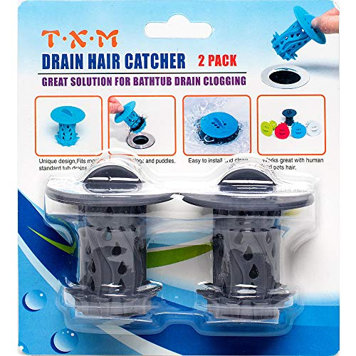 TXM Drain Hair Catcher 2 Pack, Tub Shower Drain Protector Sink Drain Strainer Hair Trap Filter/Snare/Collector for Shower and Bathtub (Gray)