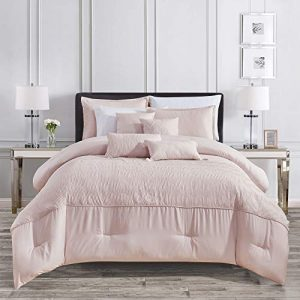 Sapphire Home Luxury 7 Piece Full/Queen Comforter Set with Shams Cushions, Modern Solid Pink Coral Pattern, Bed Cover Bed in a Bag, (21886, Queen, Pink)