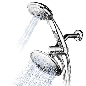 Hydroluxe 30-Setting Ultra-Luxury 6 inch Rainfall Shower Head & Handheld 3-way Combo with Water Saving Pause Switch and Stainless Steel Hose/Enjoy Separately or Together! Premium All Chrome Finish