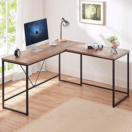 HSH L Shaped Computer Desk, Metal and Wood Rustic Corner Desk, Industrial Writing Workstation Table for Home Office Study, Grey Oak 59 x 55 inch
