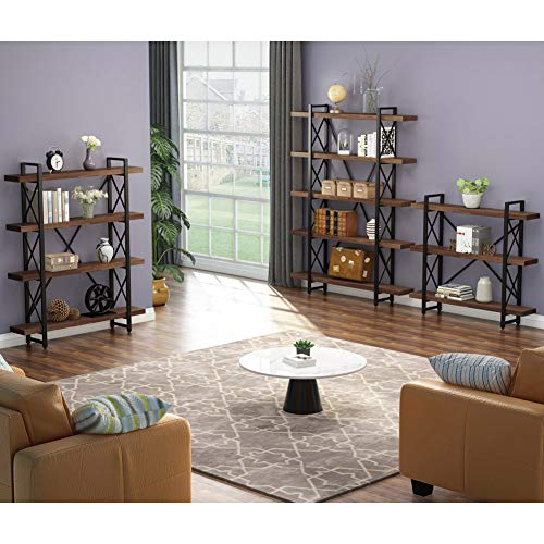 LITTLE TREE 5 Tier Bookcase, Solid Wood 5-Shelf Industrial Style Bookcase Bundle Dimensions: 47.2 x 11.2 x 71.7 inches