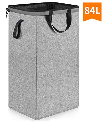 Large Laundry Hamper with Removable Liner (84L), 24.5 inch Tall Dorm Laundry Hamper with Handles, Collapsible Canvas Dirty Clothes Hamper, Square Laundry Basket for Bedroom, Bathroom, Nursery (Grey)