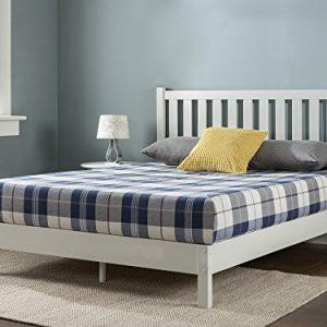 Zinus Wen Deluxe Wood Platform Bed with Slatted Headboard / No Box Spring Needed / Wood Slat Support, Queen