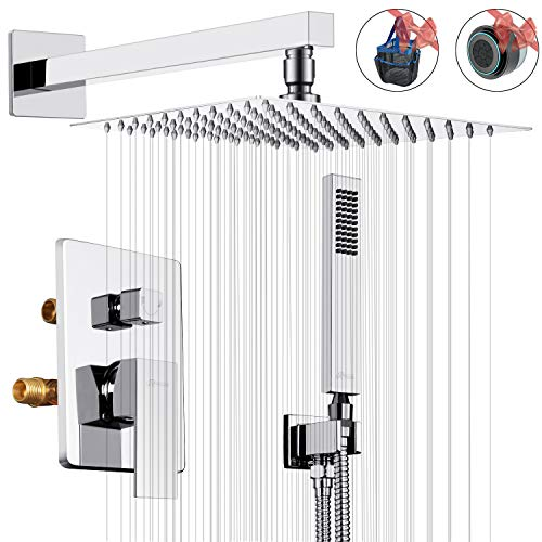 ROVESSA 10 Inches Rain Shower System Bathroom Luxury Mixer Shower Combo Set Wall Mounted Rainfall Shower Head System Polished Chrome Shower Faucet Rough-in Valve & Trim Kit Included
