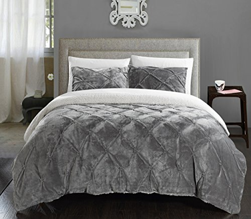 Chic Home 3 Piece Josepha Pinch Pleated Ruffled & Pintuck Sherpa Lined Comforter Set, Queen, Grey