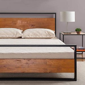 Zinus Suzanne Metal and Wood Platform Bed with Headboard and Footboard / Box Spring Optional / Wood Slat Support, Queen