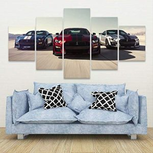 POMOTX Canvas Wall Art Wall Art Modular Pictures Canvas Printed 5 Panel Luxury Cars Mustang Shelby Gt500 Home Decor Posters Painting Living Room