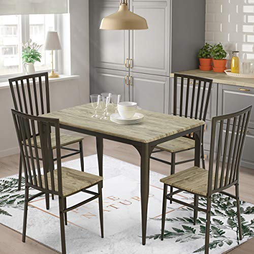 Erommy 5-Piece Dining Table Set Industrial Style Wooden Kitchen Table and 4 Chairs with Metal Legs,Dining Set,Modern and Sleek Dinette