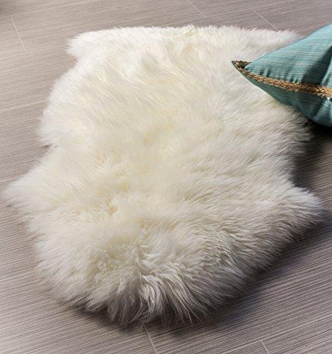 Super Area Rugs Luxury New Zealand Shearling 2x3 Sheepskin Rug, Single Pelt, Natural