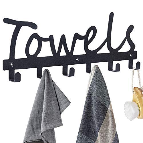 Towel Hooks Bathroom Towel Racks Towel Holder & Organizer Black Sandblasted Wall Mounted 6 Hook Door Hooks Rustproof and Waterproof for Bathroom Organizer Towels Robes Clothing Kitchen Pool