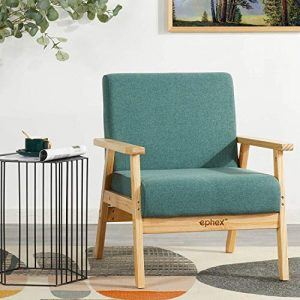EPHEX Mid Century Modern Chair, Accent Chair Wooden Arm Chair Fabric Upholstered Lounge Chair, Apartment Living Room Chairs, Dark Green