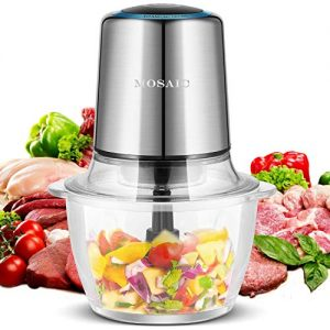 Electric Food Processor, MOSAIC 400W Mini Food Chopper for Vegetables Fruit Salad Onion Garlic with 4 Detachable Titanium Coating Blades and 5-Cup Food Grade Glass Bowl Meat Grinder Silver