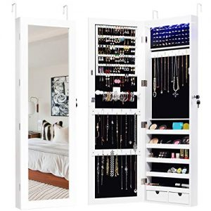 Giantex Wall Door Mount Jewelry Armoire Cabinet with 15 LED Lights, Lockable Hanging Jewelry Cabinet Organizer with Large Storage Capacity, 82 Earring Slots 60 Ring Slots 29 Hook Scarf Rod, White