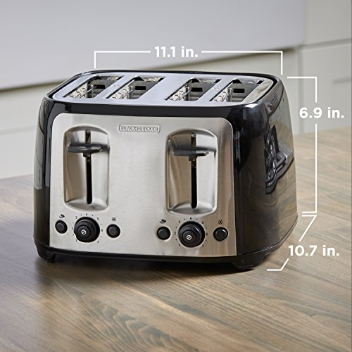 BLACK+DECKER 4-Slice Toaster, Classic Oval, Black with Stainless Steel Accents Package deal Dimensions: 12.three x 12.zero x 8.zero inches