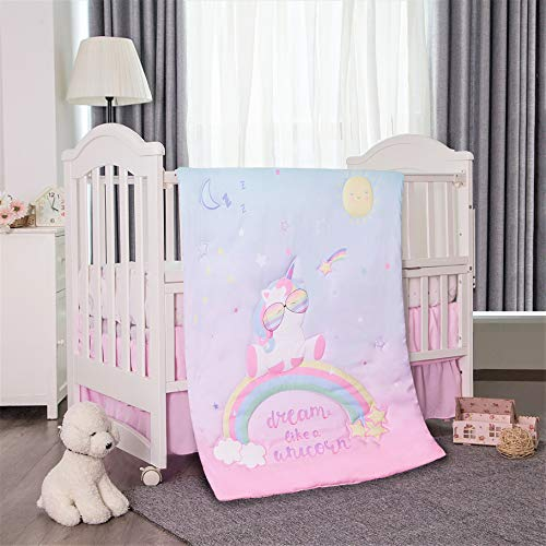 La Premura Unicorn Baby Nursery Crib Bedding Set for Girls La Premura Unicorn Baby Nursery Crib Bedding Set for Girls – Baby Unicorn & Rainbows 3 Piece Standard Size Crib Bedding Sets in Pink, Yellow & Green.