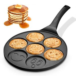 KUTIME Pancake Pan Emoji Smiley Pancake Griddle Flip Cooker Pancake Maker with 7 Flapjack Faces Waffle Maker Non-stick Breakfast Pan for Pancake, Fried Egg