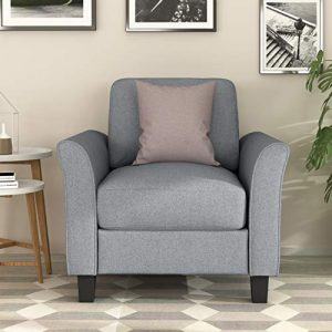 Harper&Bright Designs Living Room Furniture Set Polyester-Blend Upholstered Sofa (Single Chair, Gray)