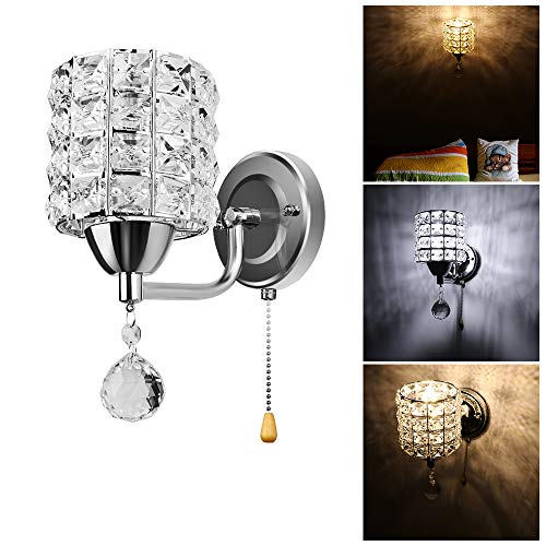 Sunsbell Crystal Wall Lamp Warm White Chrome Finish Small Wall Sconce Bathroom Living Room Lighting Fixture Decor with E14 Bulb