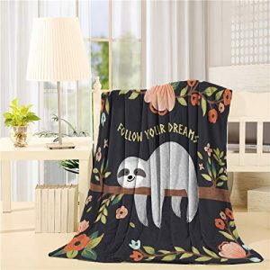 Flannel Fleece Reversible Throw Blanket 49x59 inch,Cute Baby Sloth On The Tree Follow Your Dreams Lightweight Super Soft Cozy Luxury Bed Blanket for Couch/Chair/Sofa