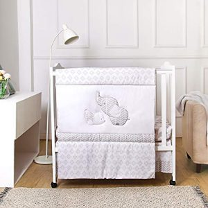 La Premura Baby Elephants Nursery Mini/Portable Crib Bedding Sets – Elephants & Puppy 3 Piece Grey Crib Set - Unisex Nursey Bedding and Neutral Decor