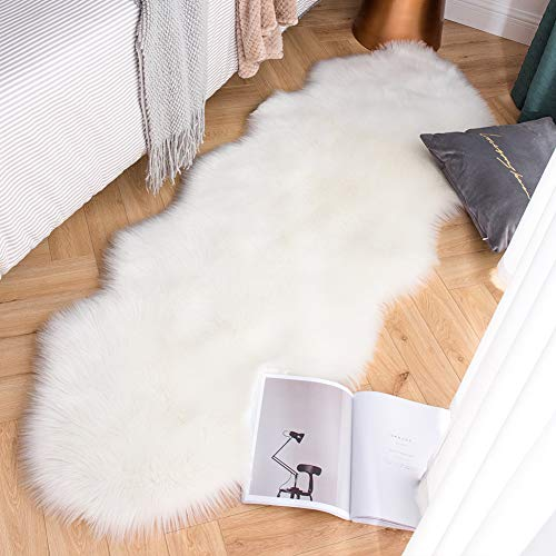 Carvapet Luxury Soft Faux Sheepskin Couch Seat Cushion Fake Fur Area Rugs for Bedroom and Living Room Runner, 2ft x 6ft, White