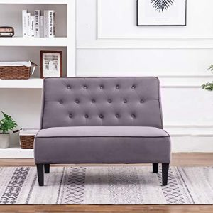ANNJOE Button Tufted Loveseat Settee Upholstered Sofa Backrest Buckle Couch Banquette Bench for Dining Room Living Room Bedroom Funiture(Gray 2)