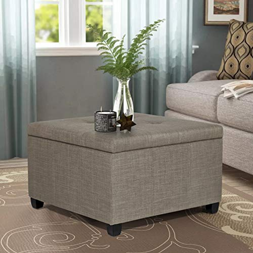 """Joveco Grey Ottoman 28.9"""" Tufted Storage Bench for Living Room Bedroom (Gray)"""