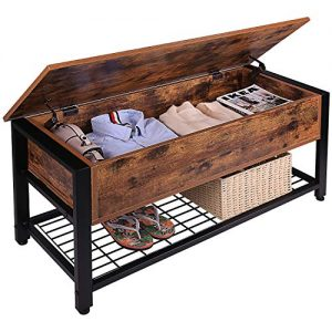 Industrial Storage Bench, Entryway Lift Top Shoe Storage Bench in Dining Room, Hallway, Living Room Metal Frame