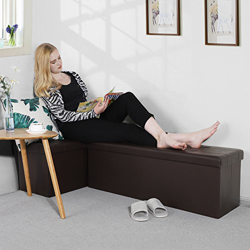 Songmics 43 Inches Folding Ottoman Bench, Storage Chest Footrest Padded Seat Package deal Dimensions: 43.Three x 14.9 x 14.9 inches