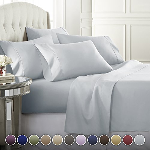 Danjor Linens 6 Piece Hotel Luxury Soft 1800 Series Premium Bed Sheets Set, Deep Pockets, Hypoallergenic, Wrinkle & Fade Resistant Bedding Set(Queen, Ice Blue)