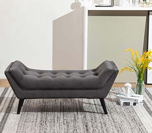 Tufted Upholstered Bench Fabric Ottoman Bench for Bedroom Living Room Entryway Dark Gray with Wood Legs