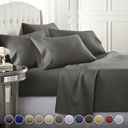 Danjor Linens 6 Piece Hotel Luxury Soft 1800 Series Premium Bed Sheets Set, Deep Pockets, Hypoallergenic, Wrinkle & Fade Resistant Bedding Set(King, Gray)