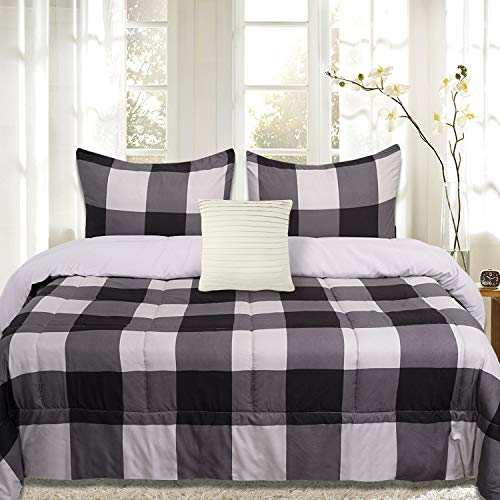 Sweet Home Collection Comforter Set 4 Piece Buffalo Check Plaid Design Soft and Luxurious All Season Down Alternative Reversible Bedding - 2 Shams & Throw Pillow, Full/Queen, Black/Light Gray