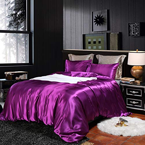 Erosebridal Hotel Purple Duvet Cover King Silk Like Satin Bedding Set Summer Reversible Quilt Comforter Cover Honeymoon Sexy Luxury Soft Lightweight Brushed Bedspreads for Farmhouse Room Decor
